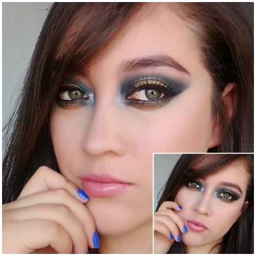 Maquillaje navideño: ojos azul marino ydorado
