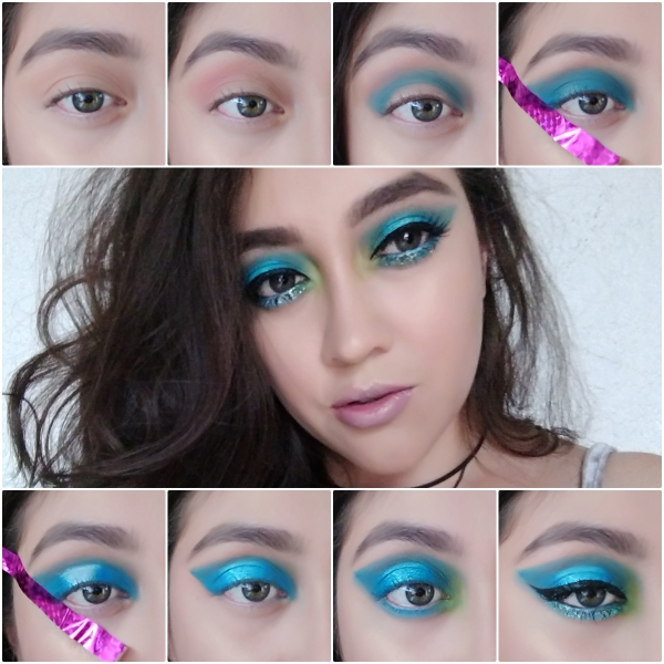 collage ojos azules con verde